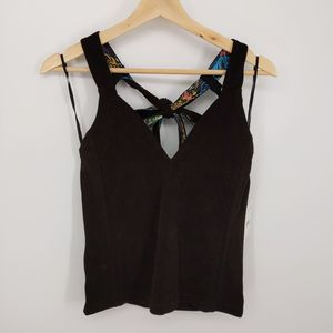 Free People Black One Call Away V-Neck Tie Top Med